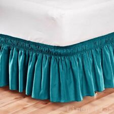Elastic Bed Skirt Dust Ruffle Easy Fit Wrap Around Turquoise Color Full Size