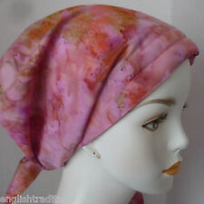 Hand Dyed Rum Raisin Batik Cancer Chemo Hair Loss Head Wrap Scarves Hat Cover
