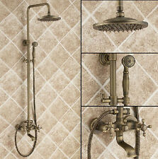 "Antique Brass 8"" Rain Shower Set Faucet Wall Mounted Mixer Tap with Hand Spray"