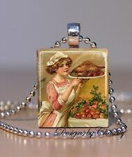 Thanksgiving Turkey Dinner Vintage Altered Art Scrabble Necklace Charm Pendant