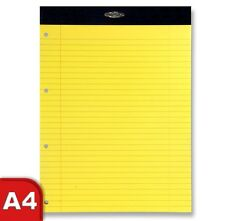 5 x  A4 Refill Pads YELLOW Punched Ruled & Margin 60gsm Perforated