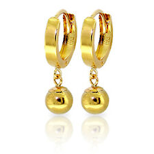 14K Solid Gold Hoop Earrings Ball Dangling