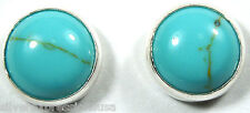 6mm Round Kingman Turquoise 925 Sterling Silver Stud Earrings - Made in USA