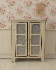 Dollhouse Miniature Shabby Chic Pie Safe Hutch Cupboard Cream Off White