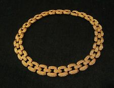 "Vintage Monet Gold Tone Textured Link Necklace, 15 "", with Matching Earrings"