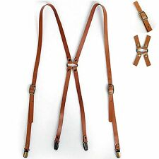 New Mens Leather Suspenders X-Back Retro Braces Belts Brass Clip-on BROWN