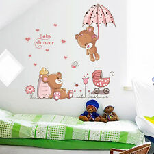Pink Bear Flower Baby Shower Cartoon Wall Sticker Decal Kids Room Nursery Decor