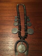 Antique Native American NAVAJO Sterling Coins Squash Blossom Necklace