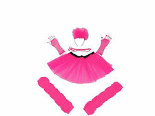 NEON TUTU SKIRT 80S FANCY DRESS HEN PARTY FUN RUN LEGWARMERS FISHNET GLOVES BEAD