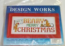 Design Works Have a Beary Merry Christmas Framed Cross Stitch Kit 3 x 7""