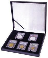 Leatherette Style Display Box for 5 Slab Certified Coin Holder Case PCGS NGC ANA