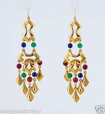 Ben-Amun Long Gold Plated Earrings w/multi colors beads  #47105