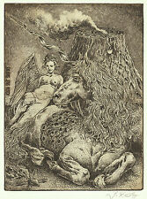 Engel Einhorn Exlibris Jens Rusch Nude Angel & Unicorn Etching c3 sign Radierung