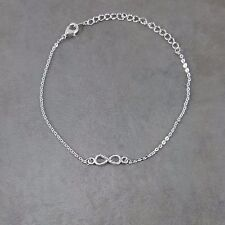 New Silver Plated Infinity Bracelet Crystal Jewelry Dainty Charm Bangle Fashion