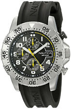 Nautica Men's NSR 104 Chrono 100m Stainless Steel Black Silicone Watch NAD16510G