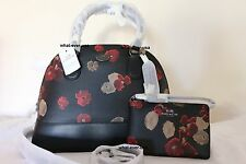 New Coach F370596 Black Floral Cora Dome Satchel Handbag with Matching Wallet