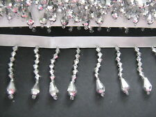 Silver Beaded Fringe/Trim   Sewing/Costume/Crafts/Corsetry