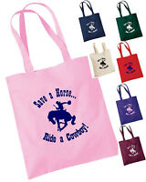 SAVE A HORSE RIDE A COWBOY! FUNNY HORSE TOTE / GROOMING / SHOPPING BAG