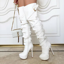 White Strappy Platform Stiletto Heel Thigh High Boots, US 10