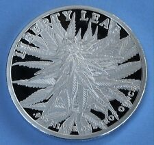 1 OZ SILVER ART ROUND Marijuana cannabis LIBERTY LEAF Ruderalis Weed Bullion 420
