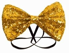 GLITTER SPARKLY SEQUIN DICKY DICKIE GOLD BOW TIE FANCY DRESS COSTUME PARTY