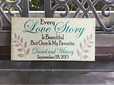 """Wedding Gift Sign 7.5x14.5"""" Canvas Love Story PERSONALIZED Anniversary Love"""