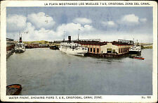 Schiffe 1923 Panama Canal Zone Chrstobal Water Front Piers Harbour Ship Ships