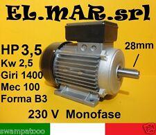 Motore Elettrico Monofase HP 3,5 Kw 2,5 Giri 1400 mec100 B3 Poli 4