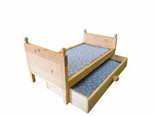 DOLL TRUNDLE BED WITH MATTRESS (Fits American Girl Doll or any 18 inch doll)