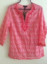 Willi Smith Peasant Top Blouse Shirt Tunic Boho Cotton L Large Collarless #F0516