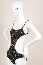 Louis Vuitton NWT Black Gold Tone Beaded Cut Out One Piece Swimsuit SZ 38