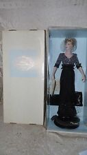 "FRANKLIN MINT DIANA PRINCESS OF WALES PORCELAIN DOLL 18"" BLACK SEQUIN NIB"