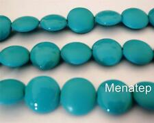 4(Four)  14mm Czech Glass Cushion Round Beads: Pop - Turquoise