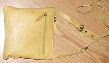 DONALD J PLINER faux OSTRICH real YELLOW leather crossbody bag purse satchel NEW