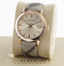 New 100% Auth Burberry BU9040 Unisex The City Rose Gold Face Watch
