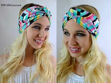 Turban HeadBand Chevron Head Wrap Wide Headband Twist Headband Blue Pink Black