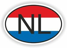 OVAL FLAG WITH NL THE NETHERLANDS COUNTRY CODE STICKER CAR MOTOCYCLE AUTO TRUCK