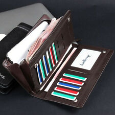 Casual Men's Leather ID Card Holder Zip Wallet Purse Clutch Checkbook Billfold