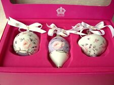SET OF 3 ROYAL ALBERT DOULTON CHRISTMAS DECORATIONS BAUBLES PURPLE NEW BOXED