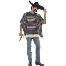 Men's Teen's Standard Mexican Poncho Fancy Dress Costume Cow Boy Mexico Fun