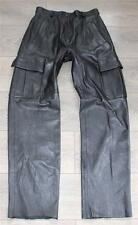 Vintage Black Leather Pockets Biker Motorcycle Trousers Pants Jeans Size W29 L32