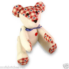 """9"""" Fabric Memory Teddy Bear Sewing PATTERN Soft Toy Tutorial Style Instructions"""