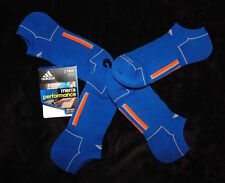 ADIDAS Performance Socks Climacool No Show Blue Orange Grey Lines Size Mens 6-12