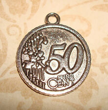 Pendant Euro Coin Charm Money European Coin Half Dollar Coin Collector Charm