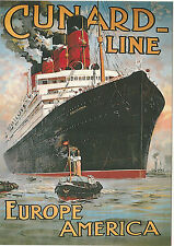 ROBERT  OPIE  ADVERTISING  POSTCARD  -  CUNARD  LINE  -  EUROPE  AMERICA