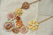 ACCESSORISE GOLD STATEMENT NECKLACE - FLOWER DESIGN IN BEAUTIFUL COLOURS - NEW