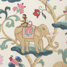 "Burma Trip Elephant Monkey. Cotton Canvas Fabric. Half Yard 18""x45"" (46x115cm)"