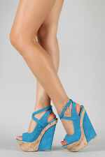 Liliana Turquoise Blue Open Toe Wedge Strappy Criss Cross Ankle Strap Sandal 8