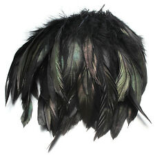 100pcs Black Fluffy Rooster Feather Fringe Decoration Home Craft DIY 6-8""