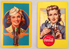 Two 1940s Coca Cola Playing Cards: Stewardess & Aircraft Spotter  GRP-0117